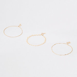 Gold tone coin layered anklet pack