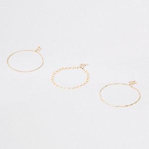 Lot de bracelets de cheville dorés avec pièces
