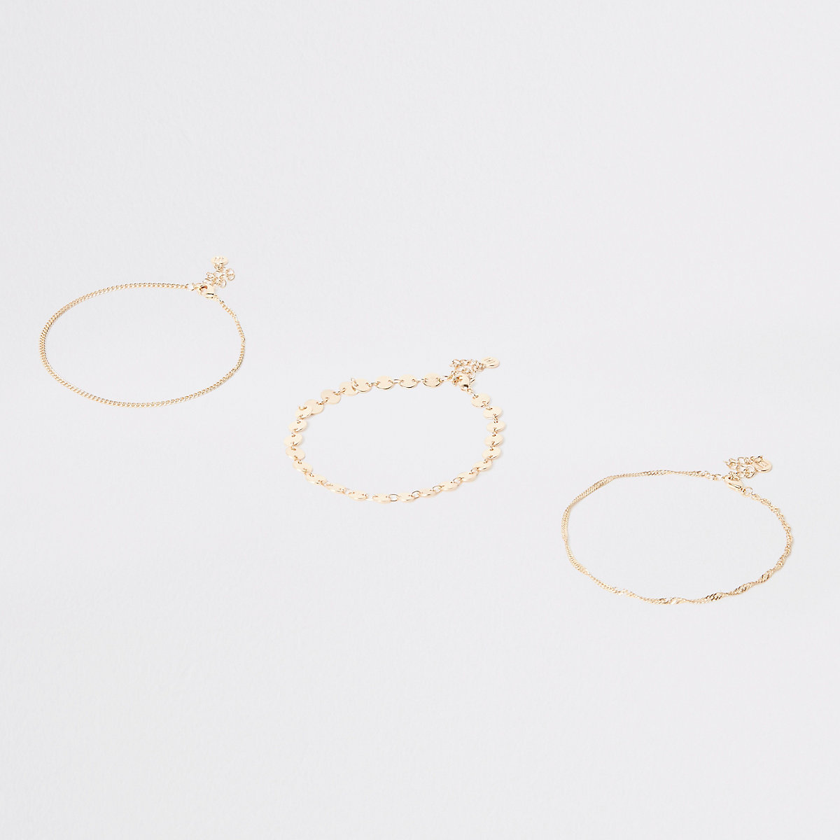 Gold color coin layered anklet pack