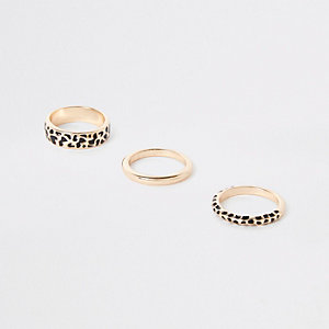 Gold tone leopard design ring pack