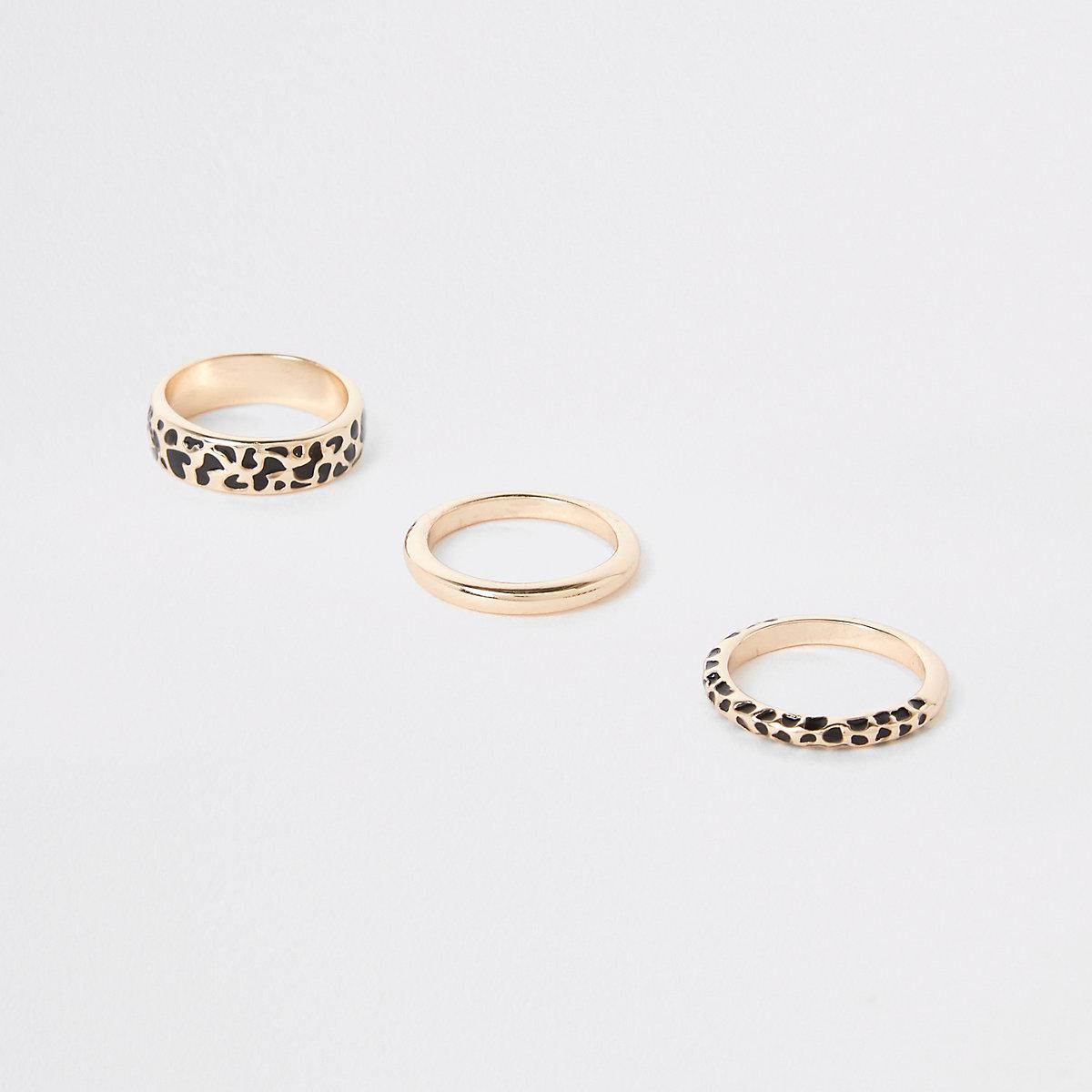 Gold color leopard design ring pack