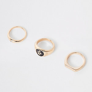 Gold tone enamel ring pack