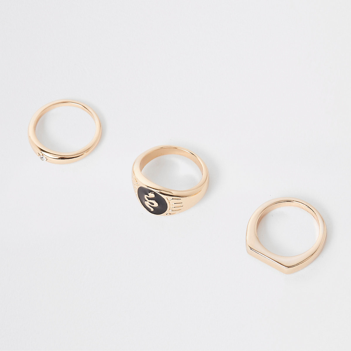 Gold tone enamel ring pack