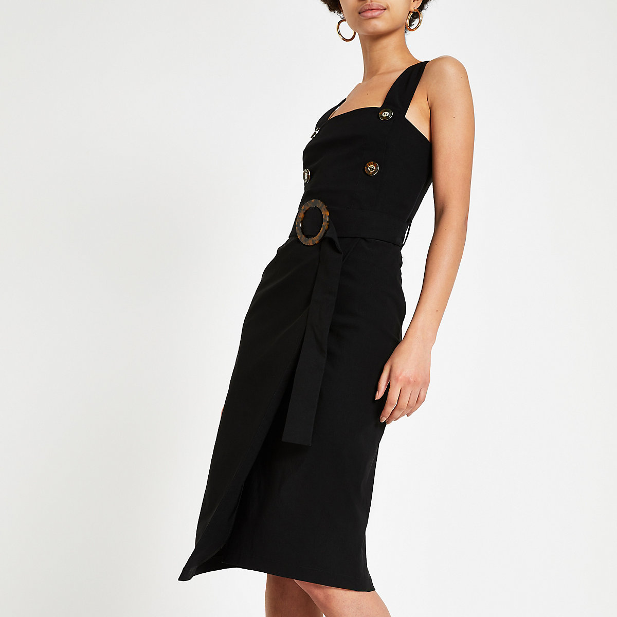 Black belted waist pinafore bodycon dress