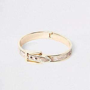 Goudkleurige armband met gesp en bruine slangenprint
