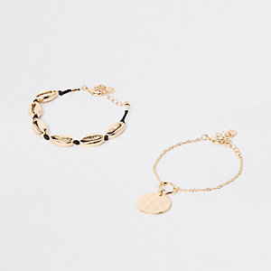 Gold colour cowry shell bracelet pack