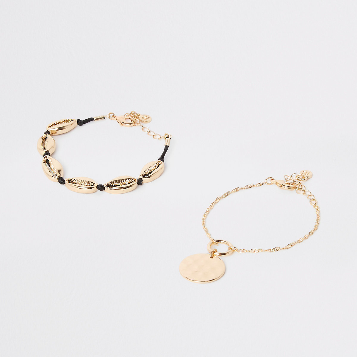 Gold color cowry shell bracelet pack