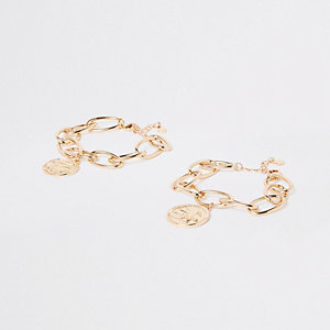 Gold tone chunky coin link bracelet