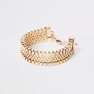 Gold tone square biker chain bracelet