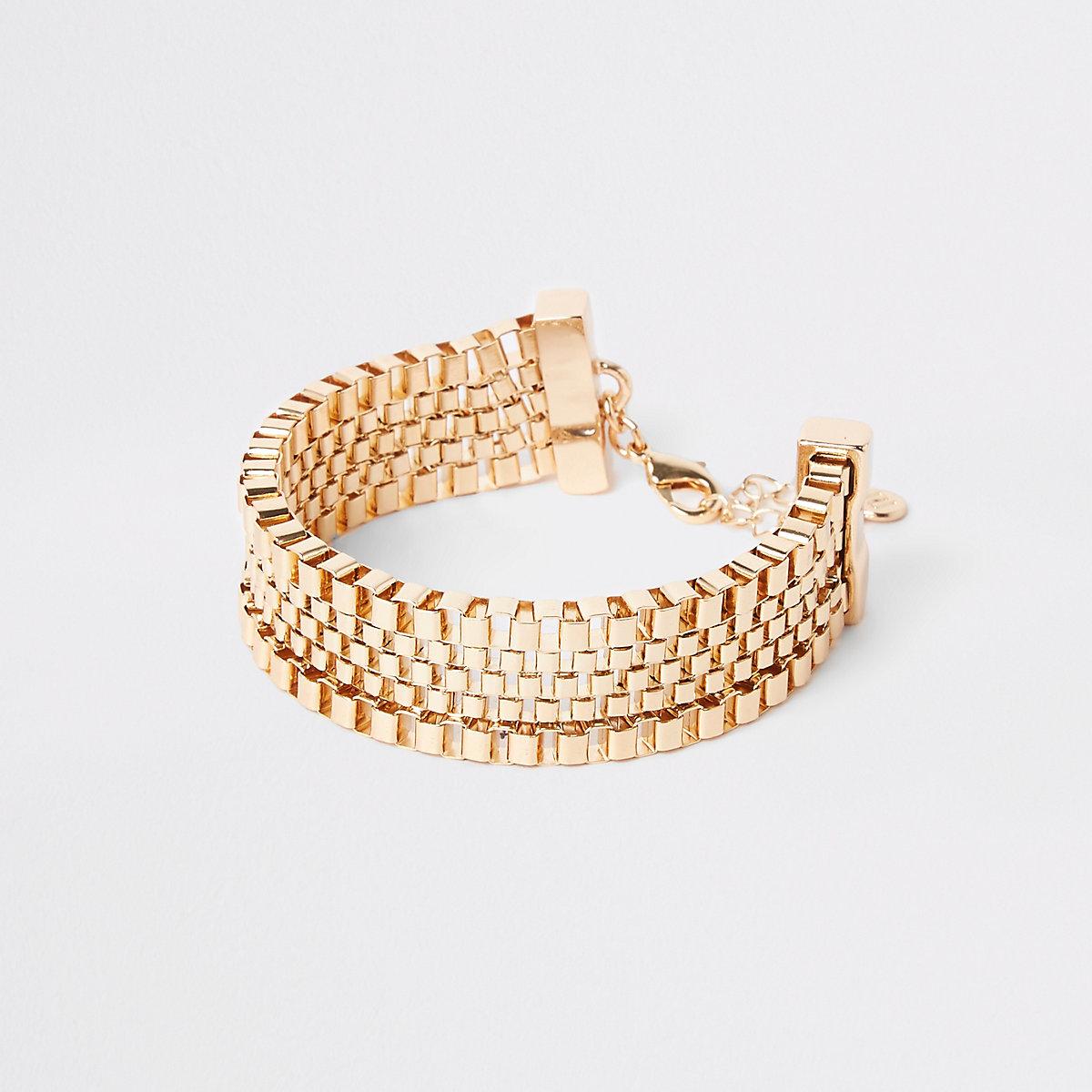 Gold color square biker chain bracelet