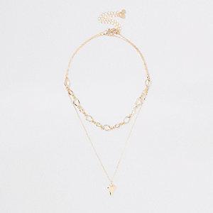 Goldfarbene, mehrreihige Halskette im Set