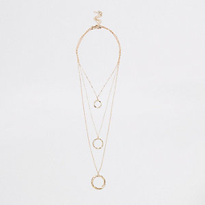Gold colour twisted circle necklace multipack