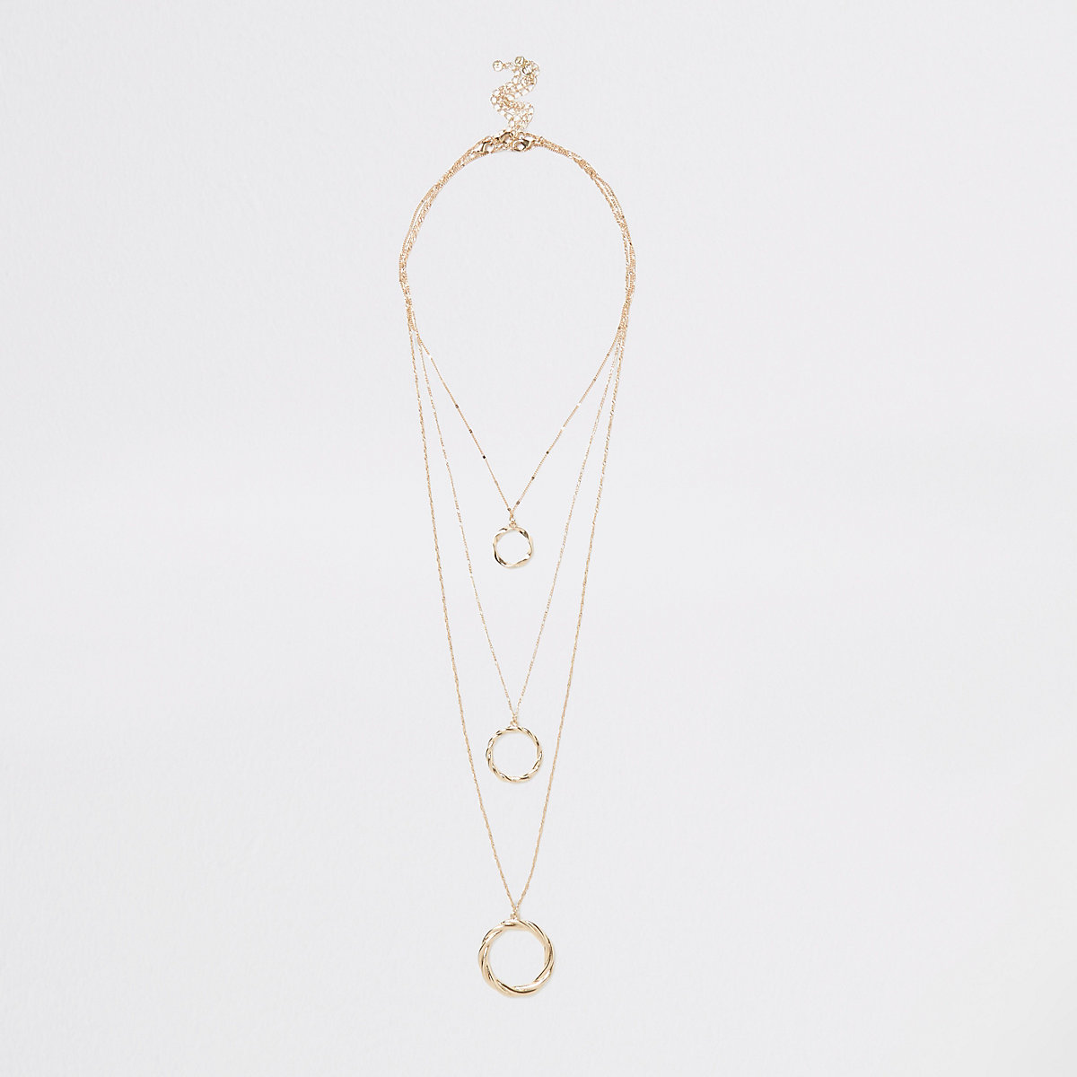 Gold color twisted circle necklace multipack