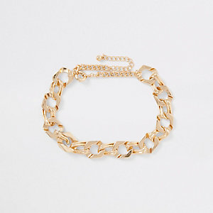 Gold tone chunky biker chain necklace
