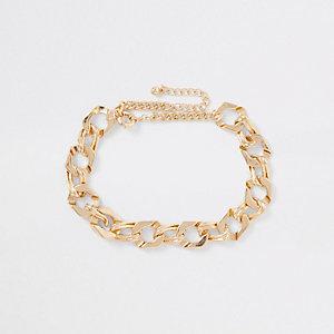 Collier grosse chaîne dorée façon motard