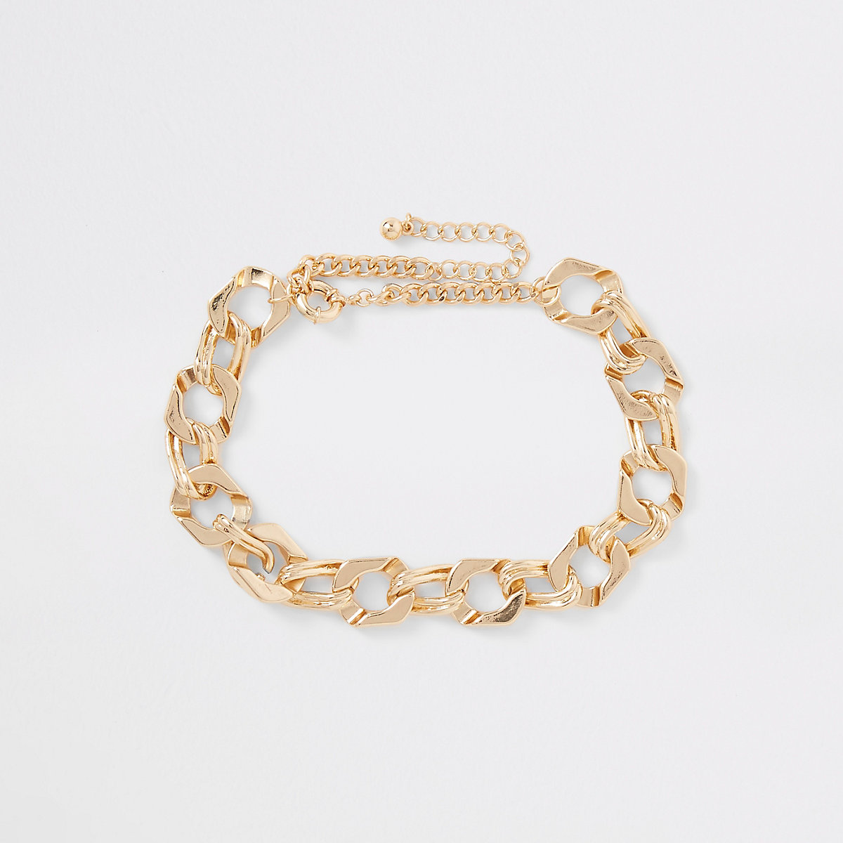 Gold color chunky biker chain necklace