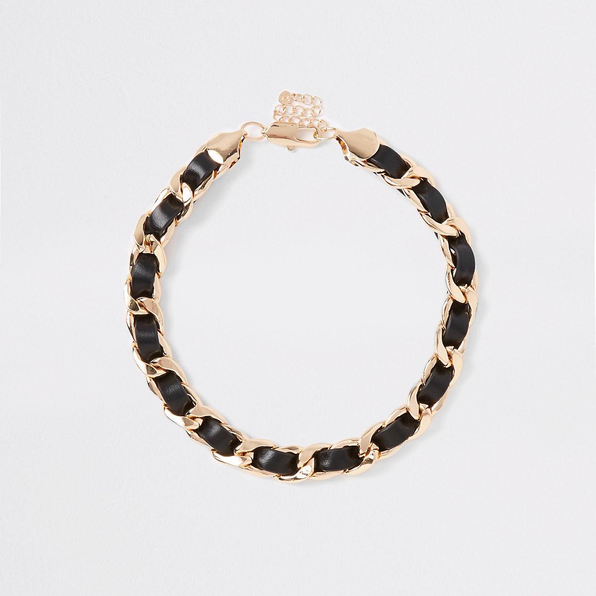Black faux leather chain necklace