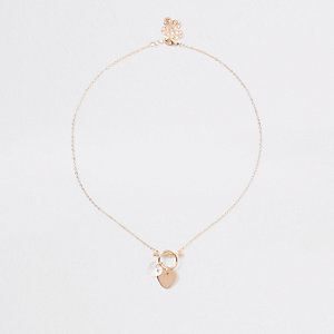 Gold tone delicate heart bar necklace