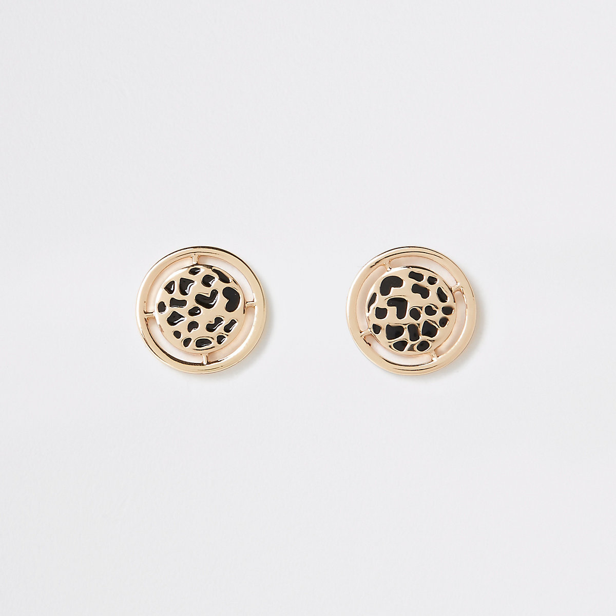 Gold color leopard design stud earrings