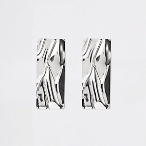 Silver colour rectangle statement earrings