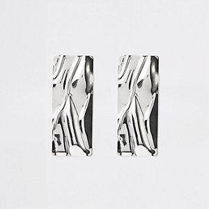 Zilverkleurige rechthoekige statement oorbellen
