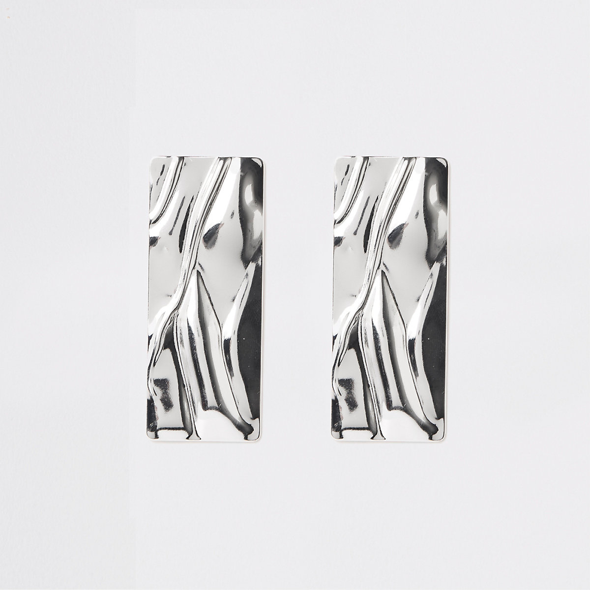 Silver color rectangle statement earrings