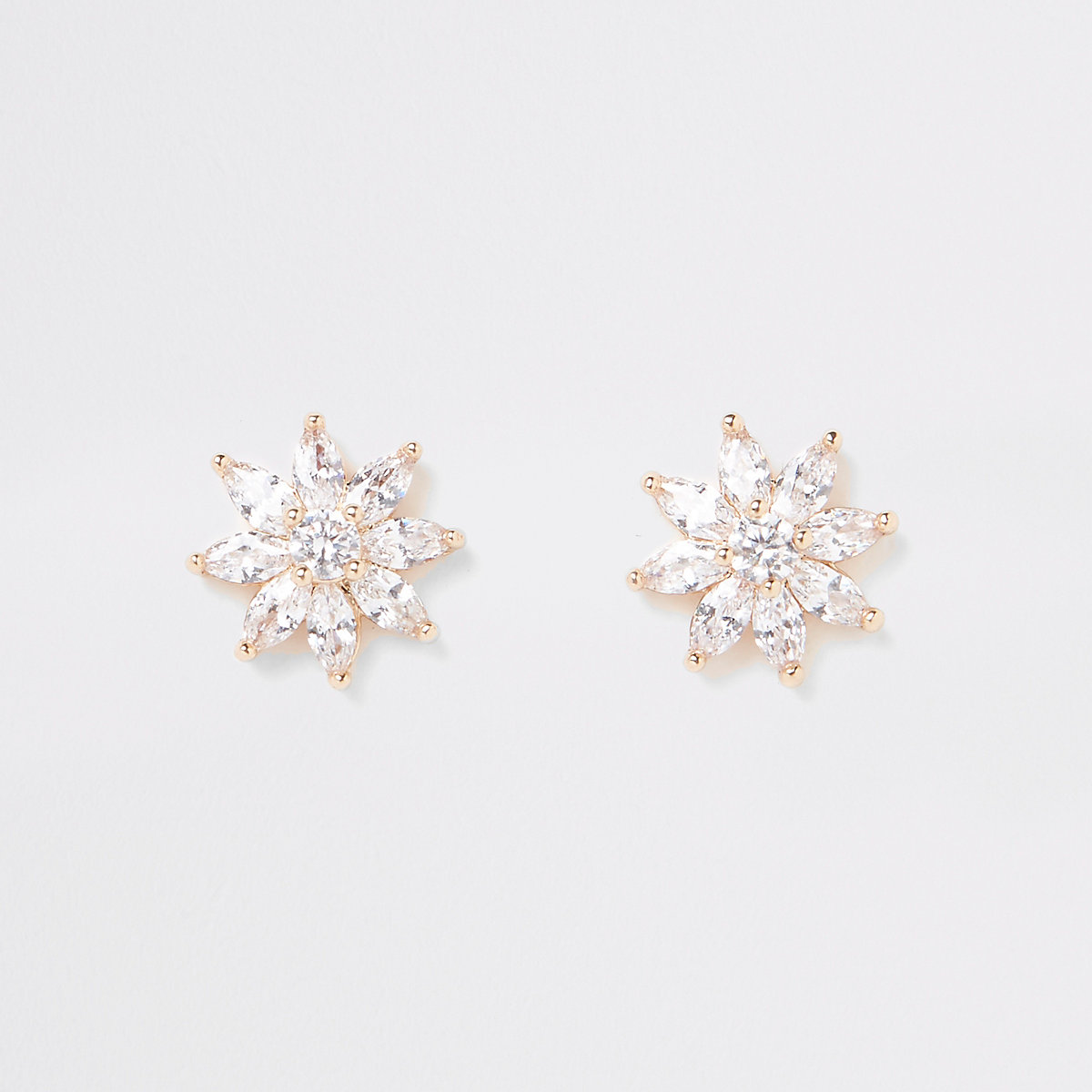 Gold plated cubic zirconia stud earrings