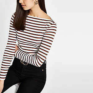 Brown stripe boat neck long sleeve top