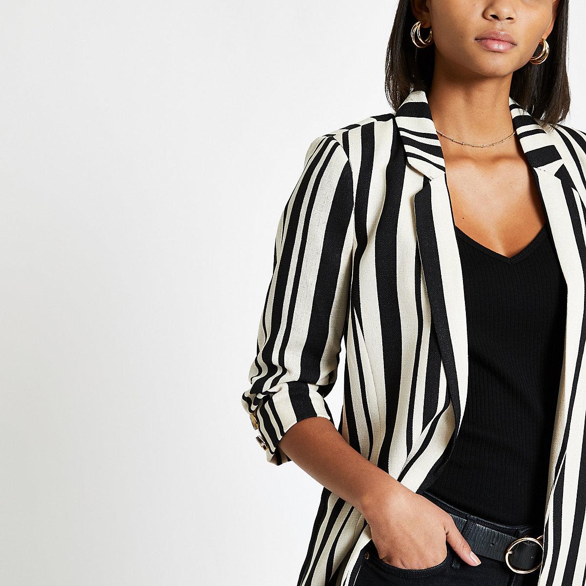Black stripe ruched sleeve blazer