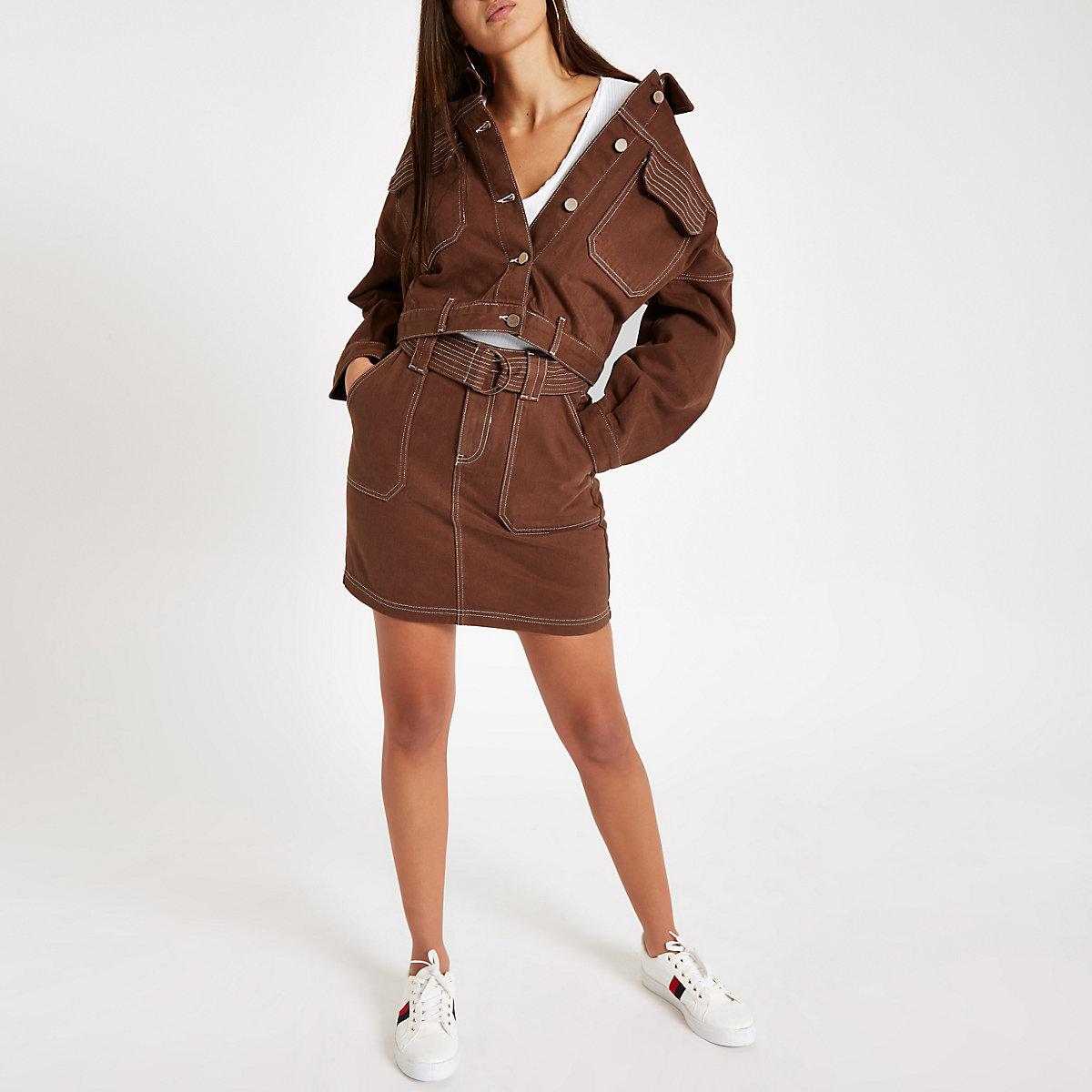 Brown cropped denim jacket