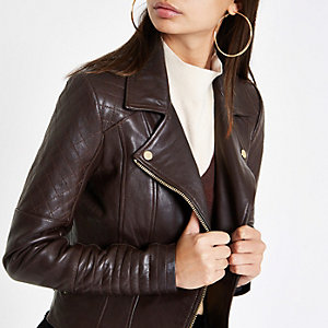 Brown leather quilted biker jacket