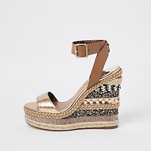 Light brown multi embellished wedges