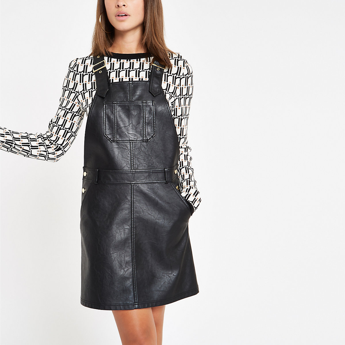 Black faux leather pinafore overall dress