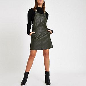 Robe chasuble en cuir synthétique kaki style salopette