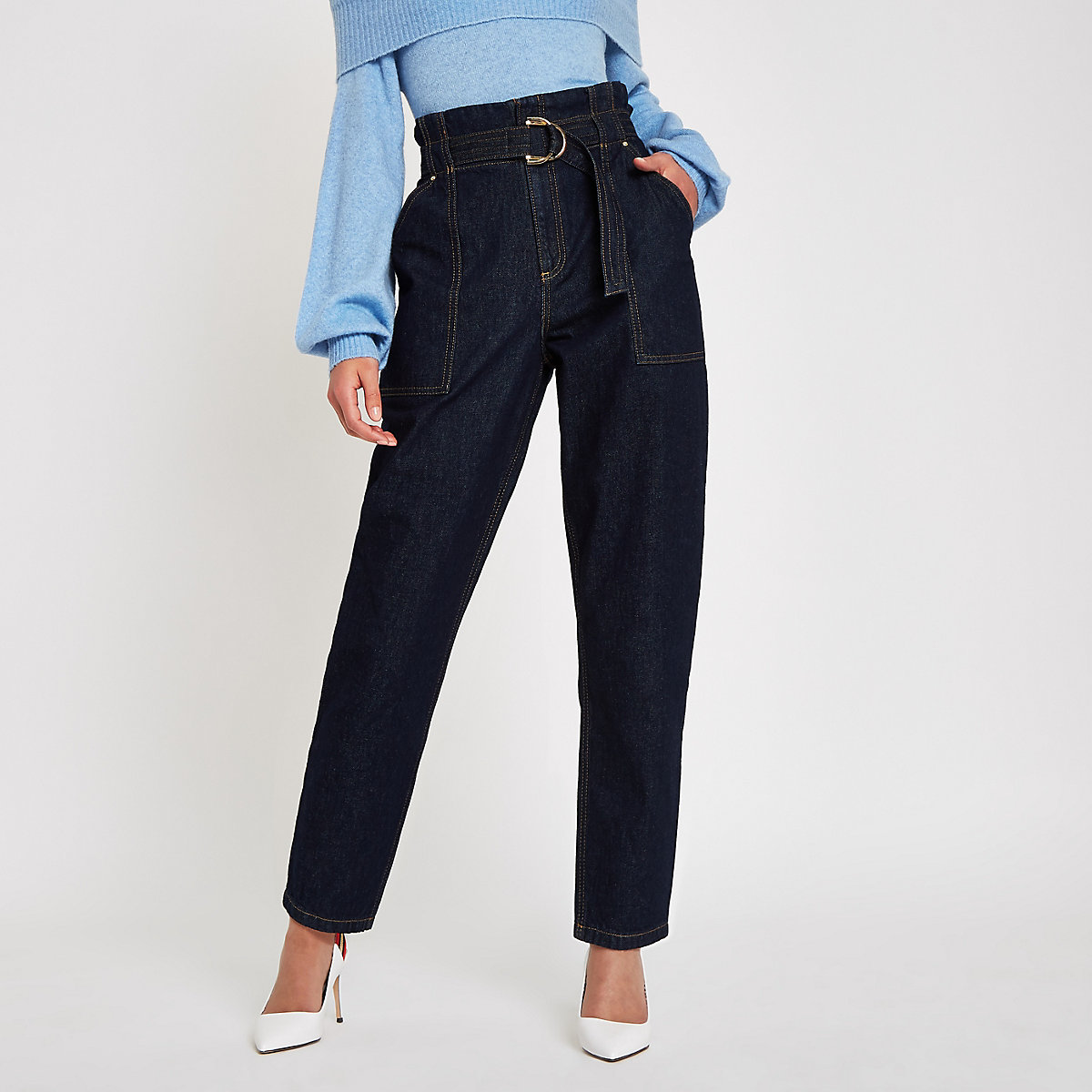 Dark denim paperbag waist pants
