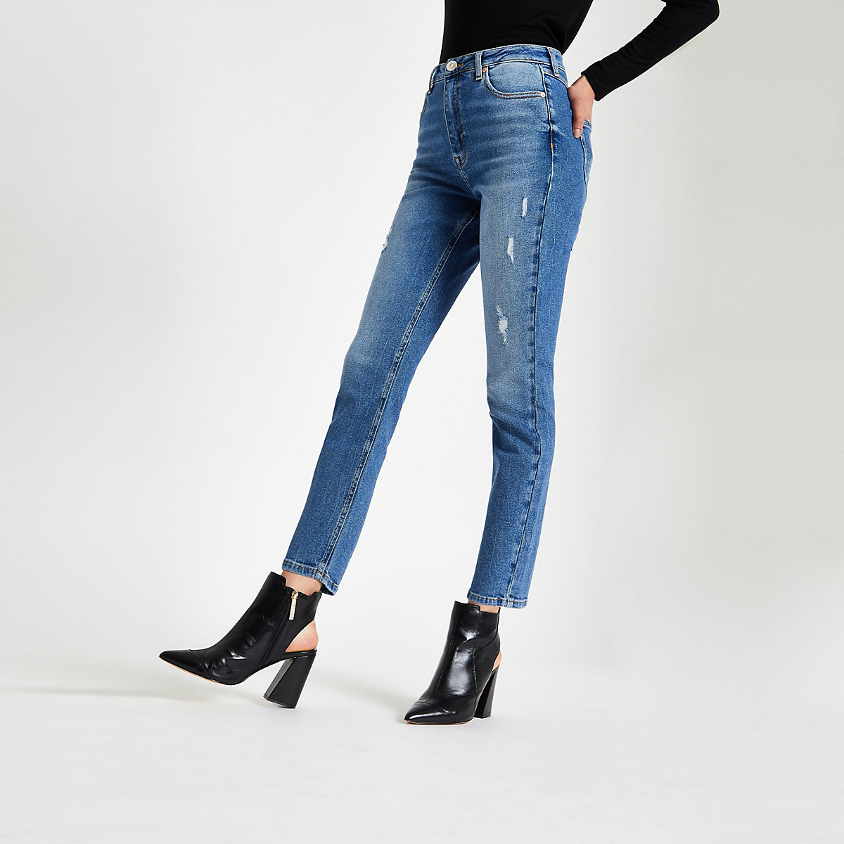 Mid blue skinny fit denim jeans