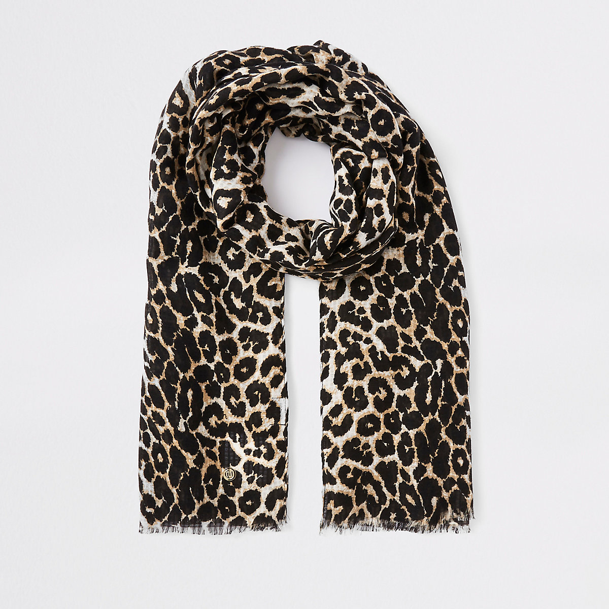 8600a40abc3a Écharpe imprimé léopard marron Écharpe imprimé léopard marron ...