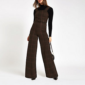 Brown check belted wide leg jumpsuit