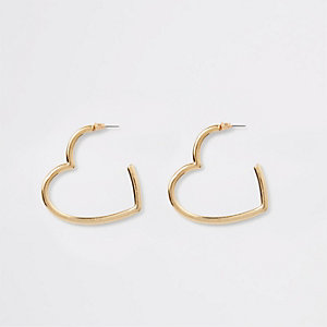 Gold tone heart shape hoop earrings