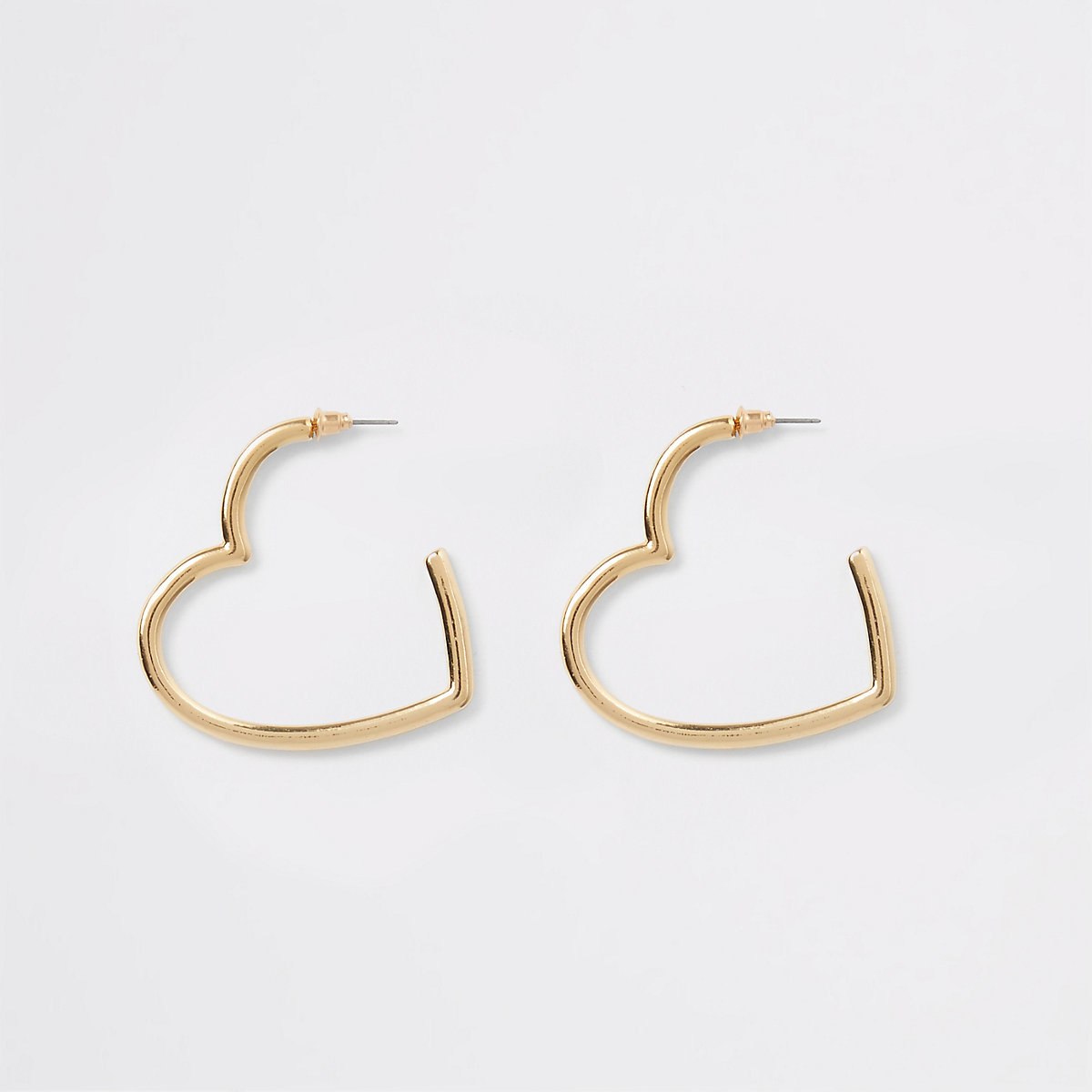 Gold tone heart shape hoop earrings