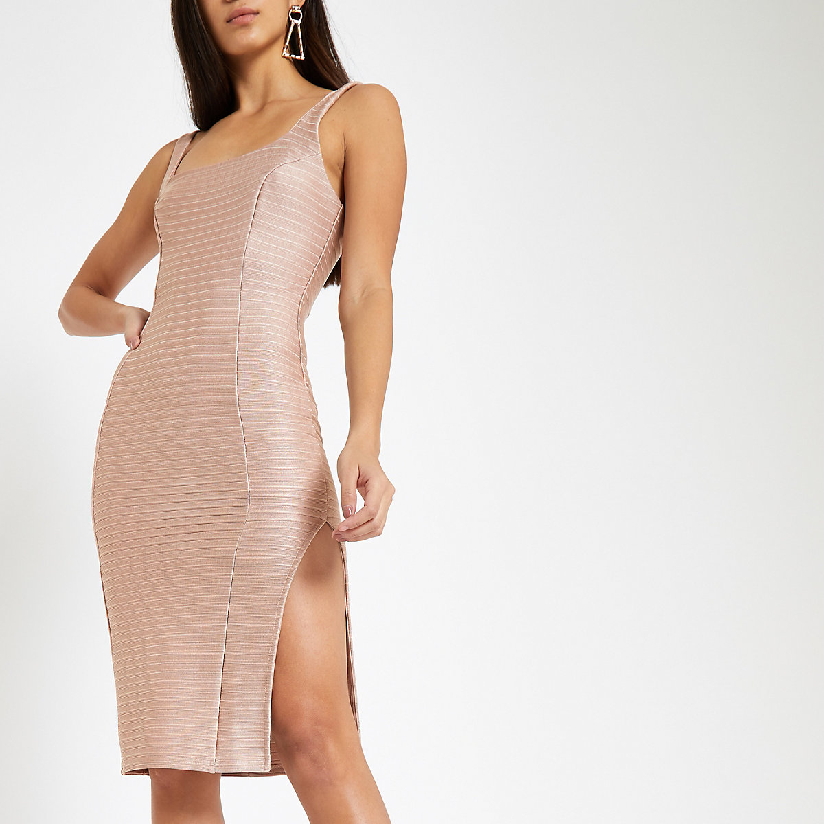 Pink square neck bodycon midi dress