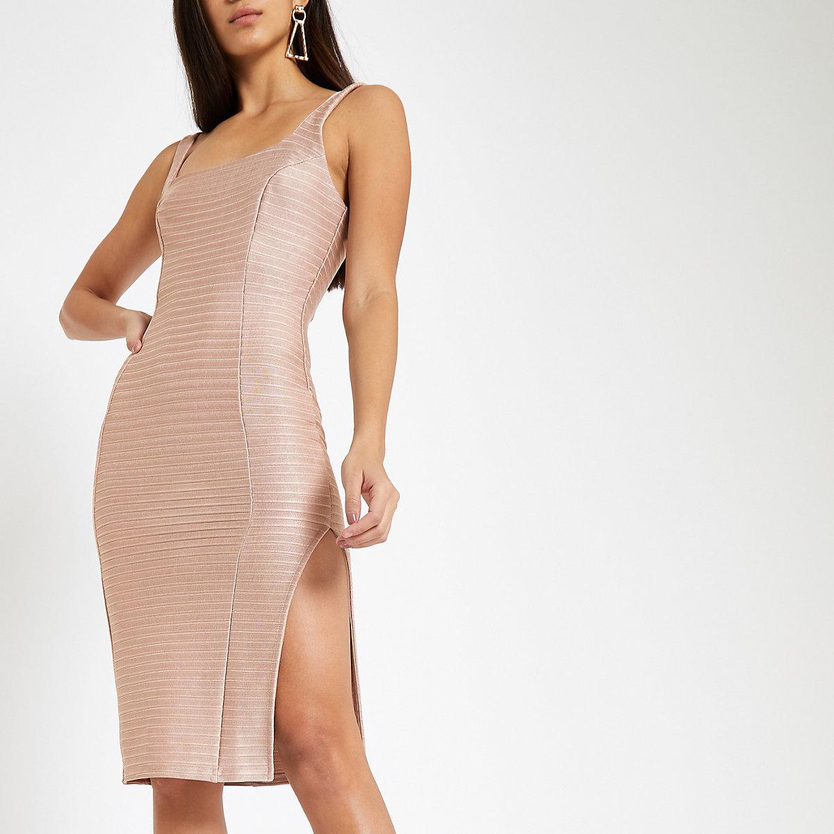 Pink square neck bodycon midi dress