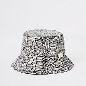Grey snake print bucket hat