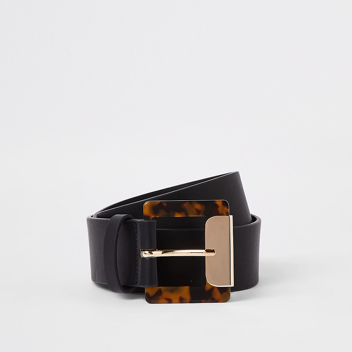 Black tortoise shell square buckle belt