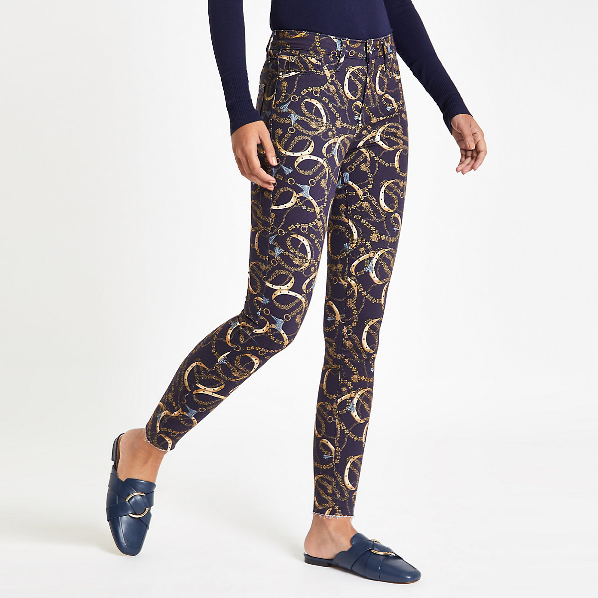 Navy Molly chain print jeggings
