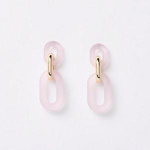 Pendants d'oreilles à maillons rose clair