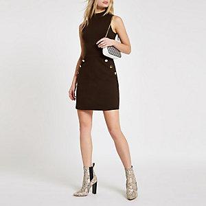 Bruine mini-jurk van ponte-stof met knopen opzij