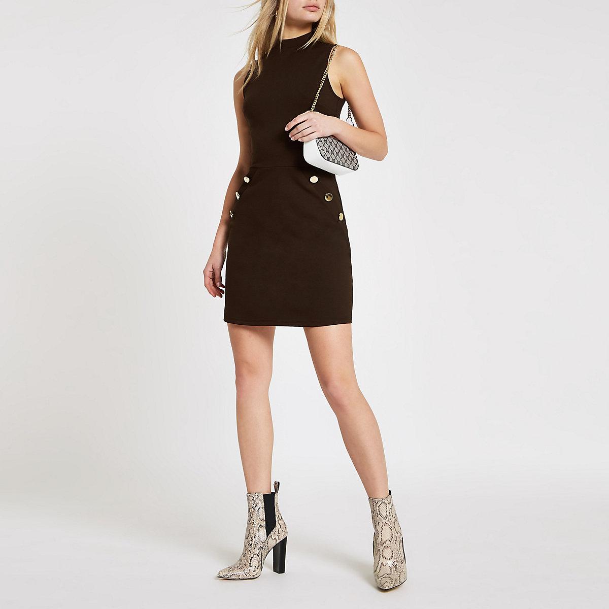 Brown ponte button side mini dress