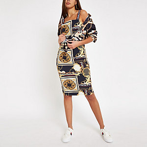 Blue scarf print bodycon dress