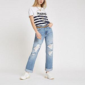 Blaue Boyfriend Jeans im Used-Look